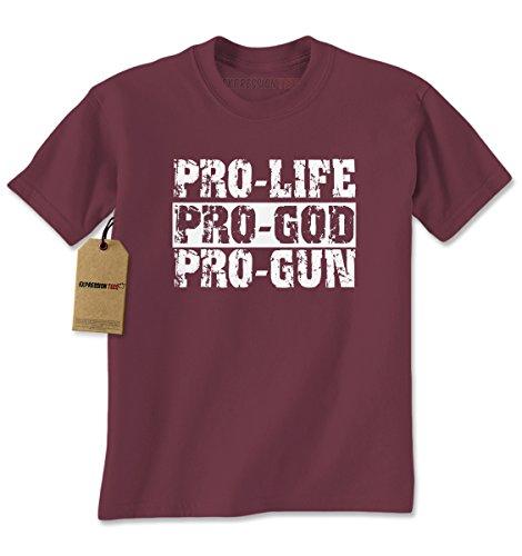Mens Pro Life Pro God Pro Guns T-Shirt X-Large - Ban Re