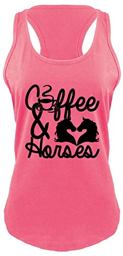 Comical Shirt Ladies Coffee & Horses Tee Cowgirl Western Southern Racerback