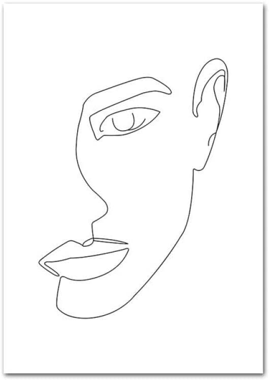 Dessin Au Trait Femme Corps Visage Abstrait Affiche Noir Blanc Nordique Minimalisme Mur Art Imprimer Toile Peinture Image Decorative Sans Cadre 35 50cm 3 Amazon Fr Cuisine Maison