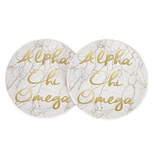 - Alpha Chi Omega Sorority Absorbent Sandstone Car Cup Coaster (Set of 2) a chi o (Light Marble Gold Script)