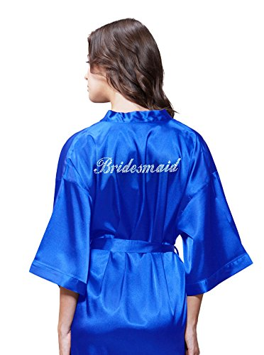 Turquaz Linen Satin Kimono Rhinestone Bridesmaid Robe (Large, Royal Blue)
