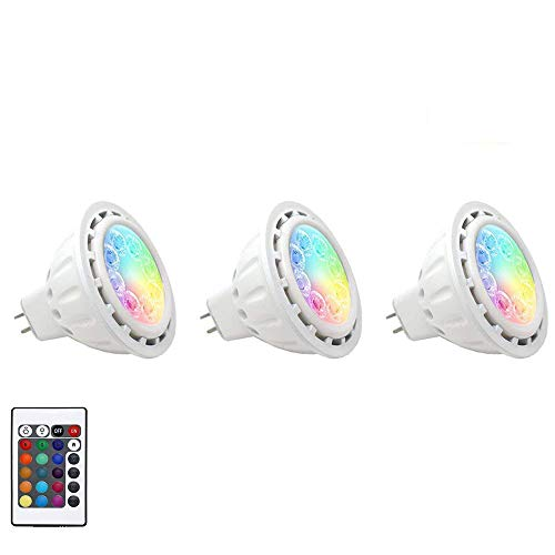 Makergroup Upgraded RGB MR16 LED Spotlights Warm White+15 Colors Choices and 4-Level Brightness GU5.3 Light Bulbs with Remote Control 5W 12VAC/DC 3-Pack