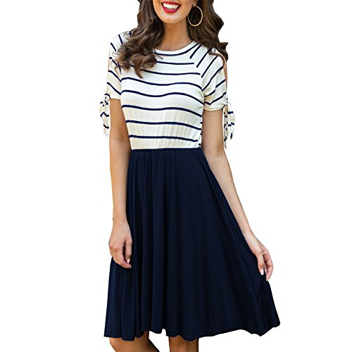 Mini Casual Women's Shoulder Dresses ANRABESS Short Navy2 Cold Pockets with Dresses Sleeve Summer Striped Swing Pzqqd7w
