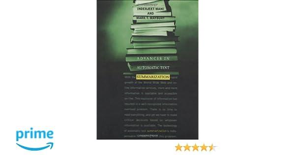 Amazon com: Advances in Automatic Text Summarization (The