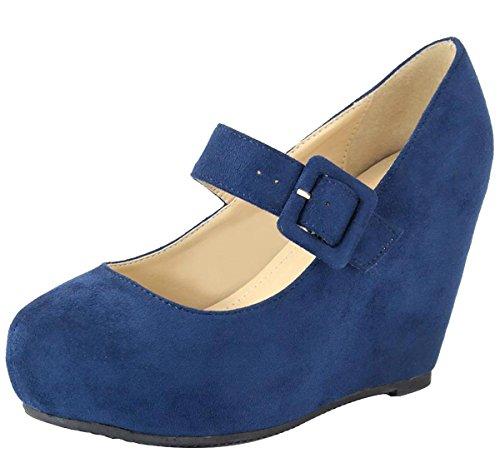 Anna Shoes Women's Mary Jane Hidden Wedge Platform Heel Shoe (8.5 B(M) US, Navy)