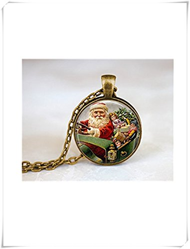 yi sheng Santa Clause Holiday Necklace, Holy Night Spirit Necklace, Xmas Necklace, santa's Sleigh,Dome glass jewelry, pure handmade