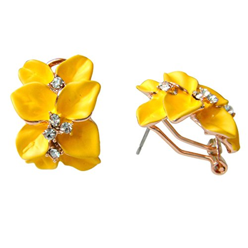(Navachi 18k Gold Plated Crystal Yellow Enamel Leaves Flower Omega)