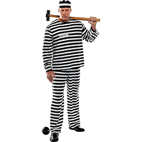 AMSCAN Convict Prisoner Halloween Costume for Men, Plus Size, with Included Accessories -