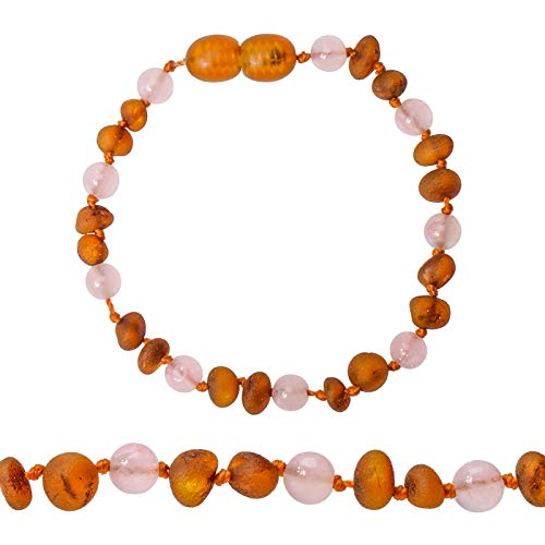 Genuine Amber - Baby Unisex Teething Anklet/Bracelet - Raw Not Polished 100% Natural Baltic Amber Beads - Knotted Between Beads - with Plastic Screw Clasp (Pink Cognac, 6.3 - Polished Clasp Bracelet