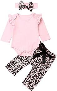 Newborn Baby Girls Ruffle Long Sleeve Romper Tops Bodysuit + Leopard Pants + Bow Headband Infant Fall Outfits