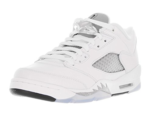 Nike Jordan Retro 5 Low Girl's Athletic Shoes Size US 6, Regular Width, Color White/Grey by NIKE