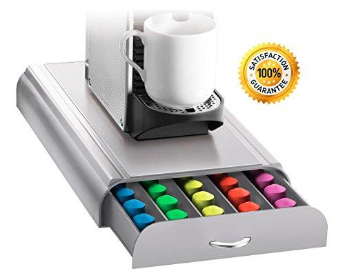 Cajon de Almacenaje para Guardar 50 Capsulas de Nespresso con Espacio para Cafetera en Color Gris - Diseño Moderno y...