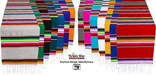 Genuine Mexican Premium Handwoven Bright MexicanTable Runner Saltillo Serape Colorful Striped Sarape 60'' x 12'' (Turquoise) by Threads West (Image #6)'