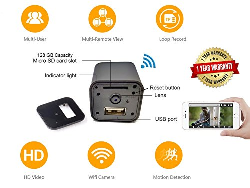 USB Hidden Camera WiFi HD1080p Remote View by DENT Products – 128 gb Capacity Spy Pet Nanny Cam