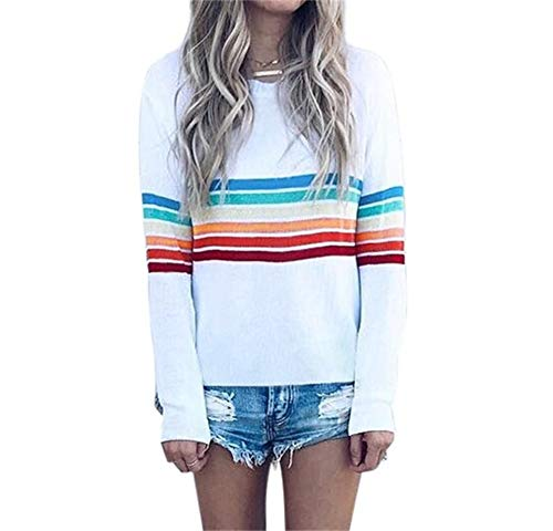 Women Casual Top Stripe Printed Crew Neck Loose Fit Fashion Sweater Blouse