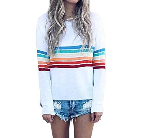 Nrthye Womens Basic T-Shirt Rainbow Patch Work Striped Round Neck Tunic Top Plus Size by Nrthye