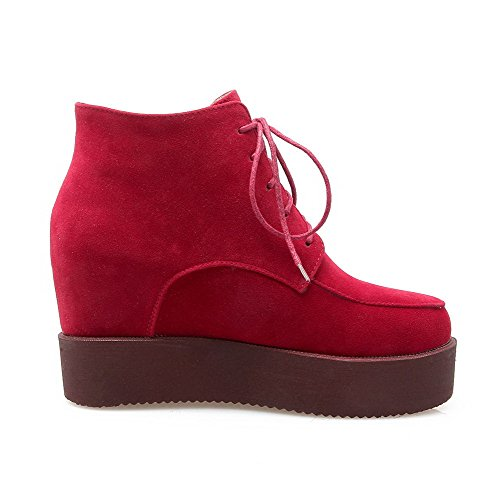 AllhqFashion Mujeres Tobillo Sólido Cordones Puntera Redonda Cuña Botas Rojo