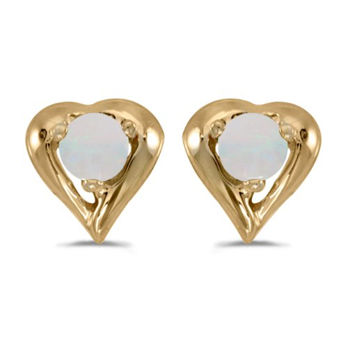 Women's Small 14K Yellow Gold Round Opal 3mm Gemstone Solid Heart Shaped Earrings, (.8 ct)
