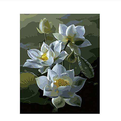 Classic Jigsaw Puzzle 1000 Pieces Wooden Puzzle White Lotus Flower DIY Modern Wall Art Unique Gift Home Decor 75X50Cm