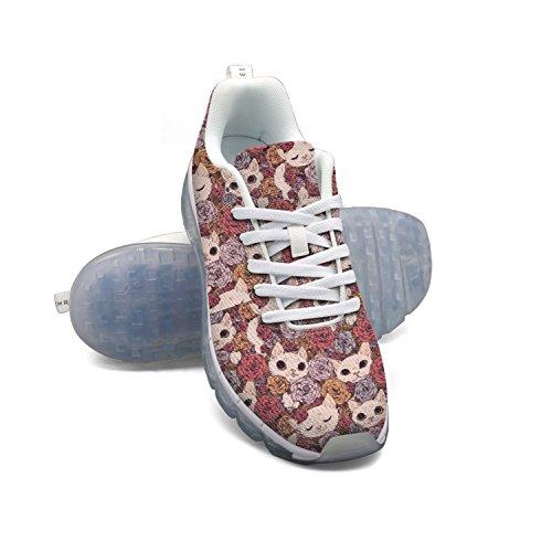 Faaerd Simpatico Gatto Con Rose Mens Traspirante In Mesh Cuscino Daria Moda Casual Sneakers