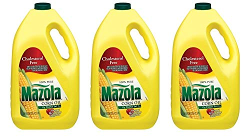 Mazola 100% Pure Corn Oil, 128 oz, naturally cholesterol free (Pack of 3) by Mazola
