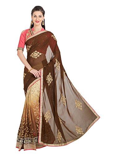 Viva N Diva Saree for Women's Embroidered & Stone Work Brown Georgette Lehenga Saree,Free Size