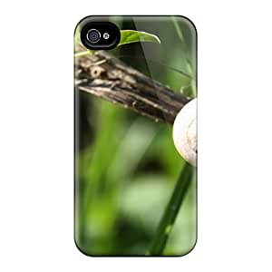 Top Quality Rugged Snail Crawling On A Pole Case Cover For Iphone 4/4s