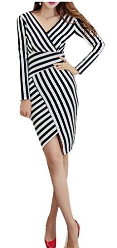 WSPLYSPJY Women's Fashion Mock Wrap Stripes Short Sleeves Knit Classic Dress Black (Mock Wrap Knit Dress)