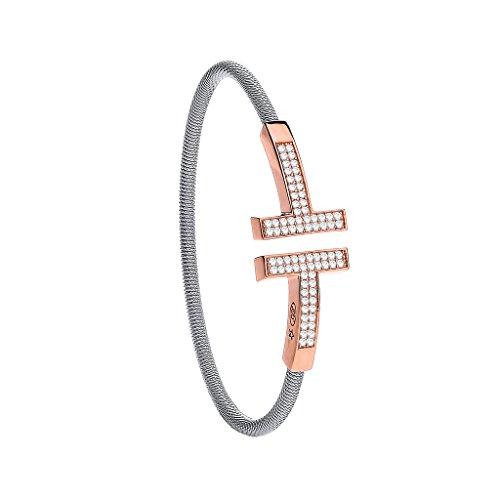 Argent sterling Mesdames fil transparent avec revêtement pierre rose T-Bracelet Femme