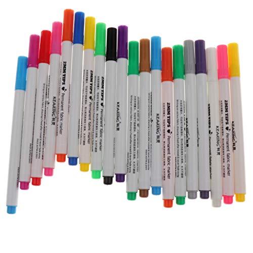 Baoblaze 20Pcs/lot Fabric Marker Pens Permanent Colors For DIY Textile Clothes T-Shirt Shoes Making