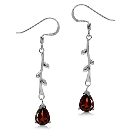 (2.46ct. Natural Garnet White Gold Plated 925 Sterling Silver Vine Leaf Dangle Hook Earrings)