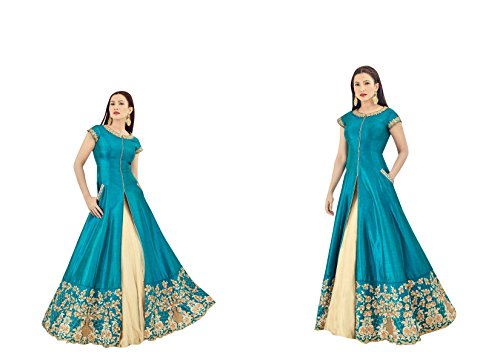 CRAZYBACHAT-New-Indian-Ethnic-Designer-Wedding-Dress-Colored-Blue-Salwar-Suit-Material