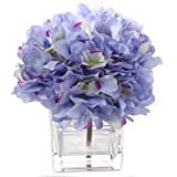 Larksilk Artificial Hydrangea Flower Arrangement Set in Vase | Gorgeous Blue Silk French Mophead Hortensia Hydrangea Bush with Pink Highlights