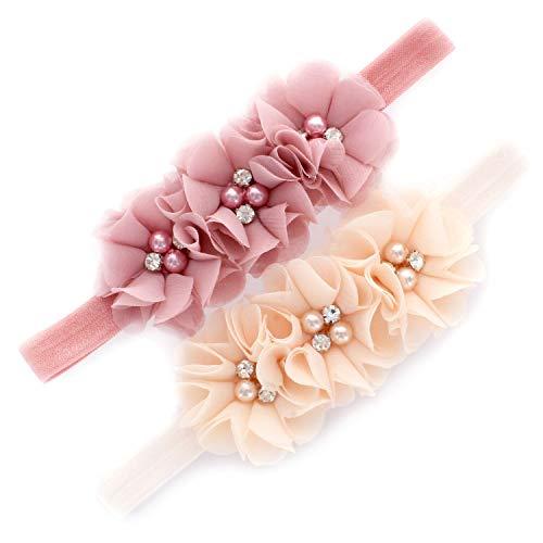 My Lello Girls Flower Headbands Toddler Fabric Beaded Trio Stretchy Elastic Pair (Dusty Rose/Vanilla Cream)]()
