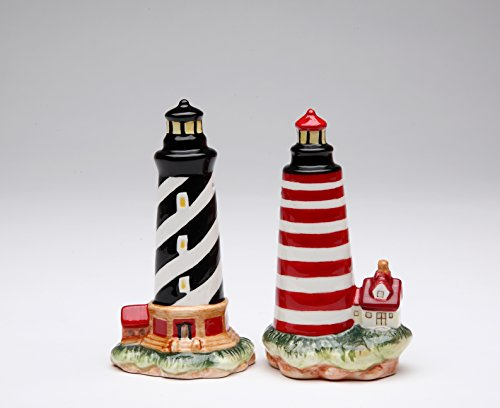 Cosmos Gifts 10480 Fine Ceramic Black Striped & Red Striped Lighthouse Salt and Pepper Shakers, 4
