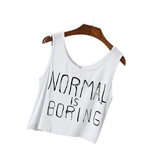 Price comparison product image Baomabao Women Tank Tops Letter Print Sleeveless Blouse (Medium,  White )