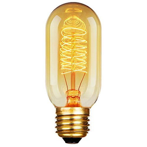 ANYQOO T45 Edison Tubular Style Bulb, Vintage Antique Light Bulb,E27 E26 Base,110-130V 40W,Warm white, Tubular Clear Glass, Filament Bulb For Home Light Fixtures Decorative, ()