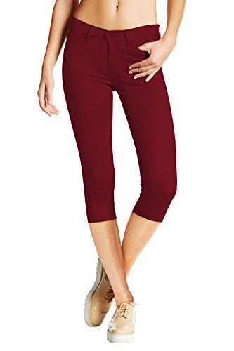 HyBrid & Company Women's Hyper Stretch Denim Capri Jeans Q44876 Wine L ()