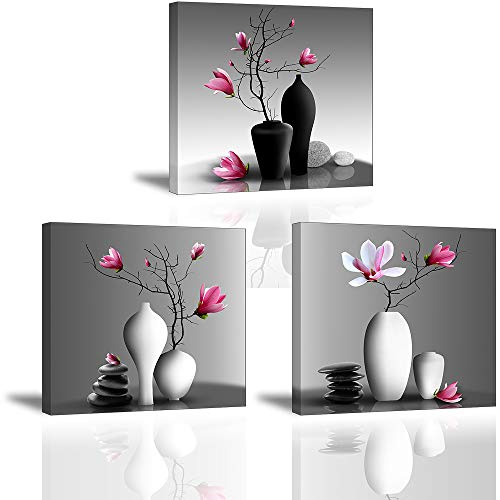 (Flower Wall Art for Bathroom Hallway, SZ Elegant Orchid Still Life Canvas Painting Prints, Pink Magnolia in Black and White Vases Picture (Bracket Mounted Ready to Hang, Waterproof Decor, 1