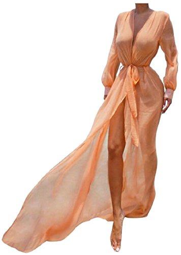 up Dress AU Bikini Long Suit Maxi Cover Bathing Swimsuit Mesh Women Sodossny Beachwear Orange Sleeve ROqnwpxIIC