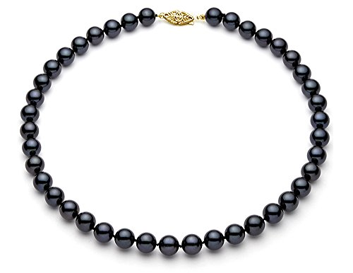(7-7.5mm 14k Yellow Gold AAA Quality Black Akoya Saltwater Cultured Pearl Necklace, 16