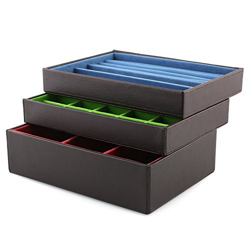amzdeal Schmuckbox Vier getrennte Damen Schmuckkasten Schwarz -