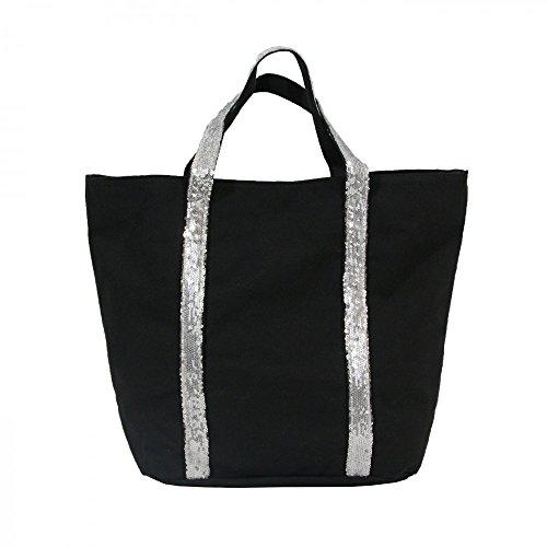 faea1b6c09 Shopping-et-Mode - Sac à main cabas noir en tissu avec lanières à paillettes  - Noir, Tissu: Amazon.fr: Chaussures et Sacs