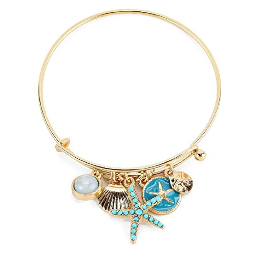 Gold Sea Life Hook Bangle Charm Bracelet (Gold Seashell Bracelet)