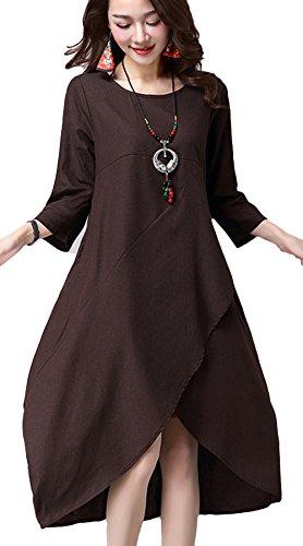 Vogue of Eden Women Loose Baggy Irregular Hemline Linen Dress Coffe - Eden Junior Bridesmaid Dress