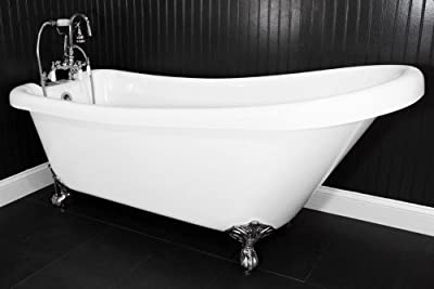 "HLSL67FPK 67"" long Single Slipper-CoreAcryl Clawfoot Tub with Brushed Nickel Feet, Faucet, Supply Lines and Drain"
