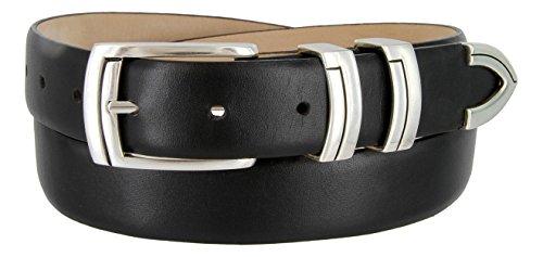 Harbor Men's Italian Genuine Calfskin Leather Designer Dress Belt In Smooth Black, Size 34 - Buckle Black Calfskin Belt