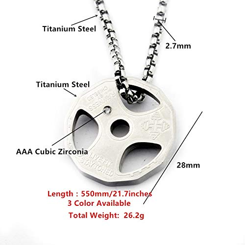 Davitu Titanium Stainles Steel Fitness Gym Necklace Weight Plate Barbell Weightlifting Bodybuilding Exercise Jewelry Metal Color: Titanium Plated