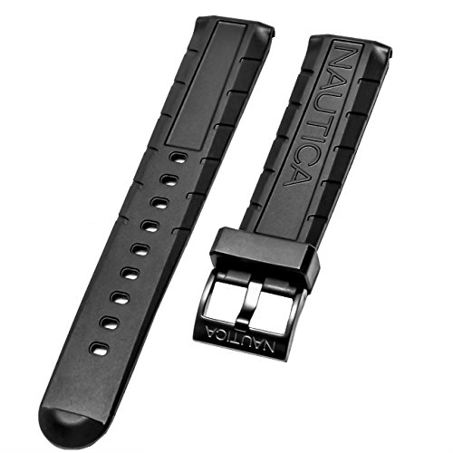 - Nautica Men's NAD21001G NSR 103 Tide Temp Compass 22mm Original Black Rubber Replacement Watch Band/Strap