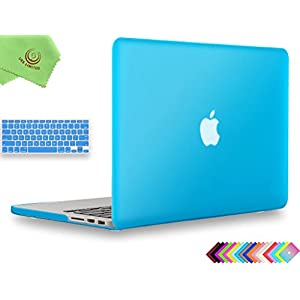 "UESWILL 2in1 Smooth Soft-Touch Matte Hard Shell Case with Keyboard Cover for (Late 2012-Early 2015 Version) MacBook Pro 13"" with Retina Display (No CD-ROM) (Models: A1502/A1425), Aqua Blue"